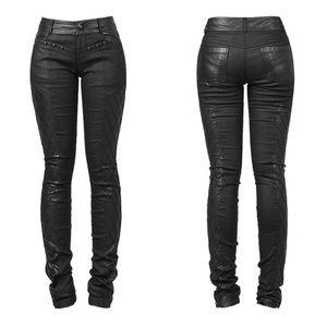 Punkrave Black Quilted Leather Blend Pants Skull